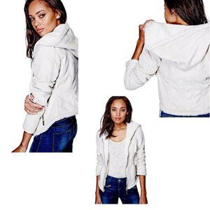Guess Lenzie Faux-Suede Bomber Jacket with Hood